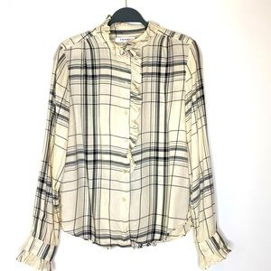 Frame Plaid Ruffle Tencel Button Down Ecru Shirt L
